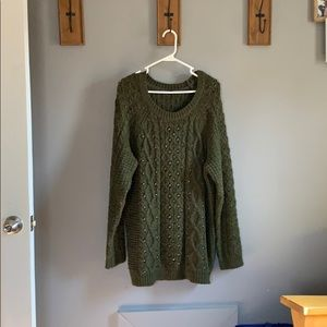 American Eagle Army Green Studded Sweater